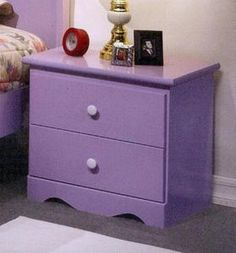 Candy Style Lavender Finish Wood 2 Drawers Nightstand - this look great with my new bedspread, in my new apartment.