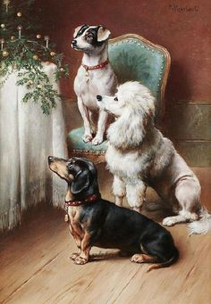 A Christmas Treat painting by Carl Reichert.