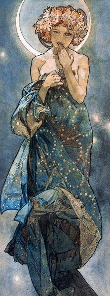 Titre de l'image : Alphonse Mucha - Étoiles : La lune.