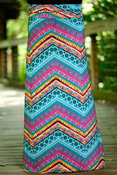 LOVE! This fun, vibrant maxi skirt is awesome! The colors are so bright and stand out beautifully! Pair this with any simple top and you will have an amazing outfit!
