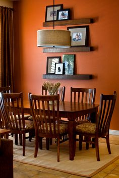 Im loving these orange walls. The orange walls being a sense of excitement and friendliness to the room. The brown table works great with these cheerful walls. Orange Dining Room, Living Room Orange, Dining Room Colors, Dining Room Walls, Dining Room Design, Kitchen Colors, Orange Kitchen Designs, Orange Room Decor, Indian Living Rooms