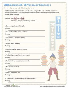Printables Metaphor And Simile Worksheet figurative language similes and metaphors student centered worksheets simile metaphor