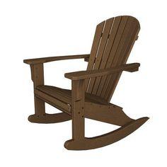 Ideal POLYWOOD Seashell Adirondack Rocking Chair Finish Dark Teak