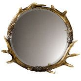 Found it at Wayfair - Rustic Faux Stag Horn Round Wall Mirror I've been in love w this for some reason amg