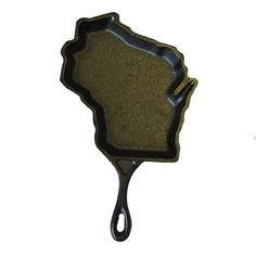 Cast iron skillet in the shape of Wisconsin.