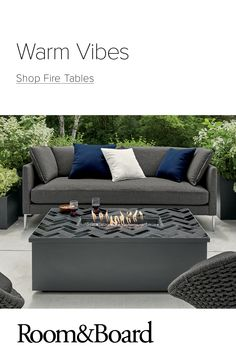 Add cozy ambiance with fire tables Outdoor Fire Table, Outdoor Seating, Outdoor Sofa, Outdoor Decor, Modern Outdoor Furniture, Deck Furniture, Fire Pit Backyard, Screened In Porch, Home Remodeling