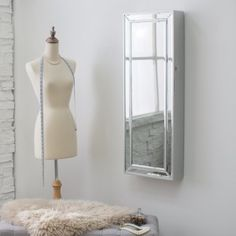 Furniture Full Length Mirror Hidden Wall Mount Jewelry Armoire and furry rugs for bathroom decorations
