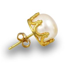 Exxotic Jewelz Gold Plated 925 Silver Freshwater Pearl Earring