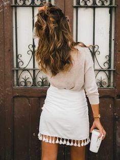 Hipster Tassels High Waist A Line Wraps Mini Skirt – sunifty Mini jupe taille haute avec pompons taille haute – sunifty Cute Girl Outfits, Edgy Outfits, Skirt Outfits, Fall Outfits, Fashion Outfits, Fashion Trends, Fashion Clothes, Black Women Fashion, Look Fashion