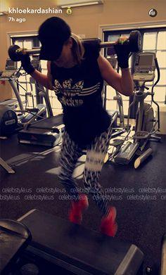 Khloe Kardashian wearing Maasai Activewear Leopard Fever Tights and an Adidas Top https://api.shopstyle.com/action/apiVisitRetailer?id=534936638&pid=uid7729-3100527-84. #style #celebstyle #adidas #snapchat #activewear #maasai