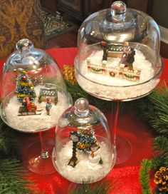 I really enjoy all of the little Holiday miniatures and villages, but I really don't have any place to display a village. I thought that this year, I could get some cute little miniatures and display them in my glass cloches. This keeps them neat, tidy, AND dust free. All…