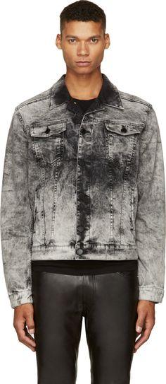 Pierre Balmain: Gray Bleached Denim Trucker Jacket | SSENSE