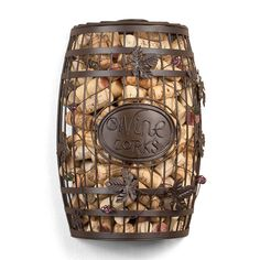 Commemorate every memorable toast with our Vineyard Barrel wine cork cage wall decor. Hewn from beautiful wrought iron with a faux-antique finish, this wine wall decor is inspired by the classic oak...