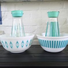 Bowls with matching carafes.