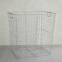 Wire mesh basket to use as hamper or for towel storage in the bath!