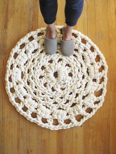 Each Mega Doily rug is hand-crocheted by the Lady (Jean) of L Studio using 1/2 thick cotton cord.