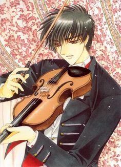 Illustration of Touya Kinomoto playing the violin (Cardcaptor Sakura).