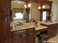 Dual vanities and seating in the master bathroom. The Saint Clair - 284. http://www.dongardner.com/plan_details.aspx?pid=224. #Dual #Vanities #Master