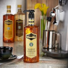 A 1-liter bottle of rich, sweet vanilla syrup to flavor your coffee or latte at home or the office.