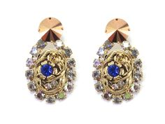 Earrings - 24 Kt Yellow Gold plated BrassSwarovski crystals and rhinestones of white, blue and aurora borealis color. 35 pairHand Made in Italy Luxury Jewelry, Swarovski Crystals, Diamond Earrings, Sapphire, Jewelry Accessories, Fashion Jewelry, Bronze, Urban, Gold