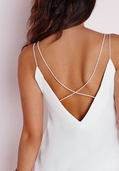 Missguided - Cross Back Strap Cami Top White