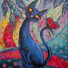 Contemplation, Original 18 x 24 Acrylic Painting on Canvas, Modern Contemporary Folk Art, Black Cat Red Monarch Butterfly, Home Decor. $95.00, via Etsy.