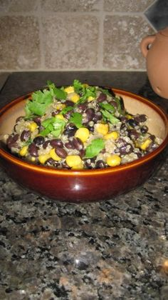 Black beans and quinoa recipe. Instead of corn & added green peas. I also added a tbsp. of Thai Style Green Curry.