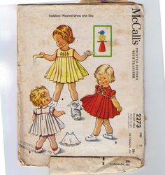 1950s Vintage Sewing Pattern McCalls 2273 Girls Pleated Front Dress and Slip with Transfer Size 2 Breast Chest 21 50s