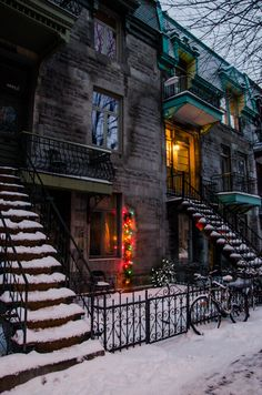 Stairs under snow Montreal Quebec Quebec Montreal, Montreal Ville, Quebec City, Montreal Architecture, Urban Architecture, Canada Pictures, Belle Villa, Metal Stairs, Winter Scenes