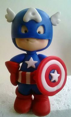 *SORRY, no information as to product used Polymer Clay Fairy, Fimo Clay, Polymer Clay Crafts, Captain America Cake, Fondant Cake Toppers, Clay Fairies, Clay Mugs, Clay Figurine, Teacup Pigs