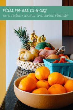 It varies day to day, but this is a general idea of what we eat in a day as a vegan-- mostly fruitarian family. Spoiler alert: lots of fruit. Fruit Diet Plan, Eat Fruit, Raw Food Recipes, Healthy Recipes, Healthy Food, Fruitarian Diet, Fruit And Vegetable Diet, Veggie Spring Rolls, Grain Free Granola