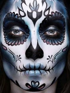 Day of the Dead, sugar skull, Halloween Sugar Scull, Sugar Skull Art, Sugar Skull Face Paint, Yeux Halloween, Halloween Make Up, Maquillaje Sugar Skull, Los Muertos Tattoo, Dead Makeup, Artistic Make Up