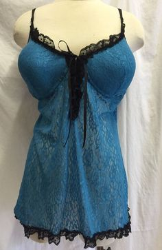Apostrophe Nightie Babydoll Lace Blue Romantic Intimates Lingerie Negligee 2x #Apostrophe #BabydollChemise