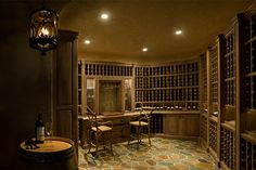 Custom Wine Cellar - Partial entry view of classical custom wine cellar Pleasant Ln., Glenview, Glenview Haus Photo Gallery, Chicago
