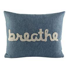 Alexandra Ferguson Zen Master Breathe Throw Pillow Color: Denim / Oatmeal Felt