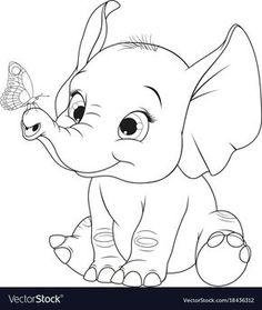 Funny kid elephant vector image on VectorStock Cartoon Elephant Drawing, Elephant Sketch, Elephant Art, Simple Elephant Drawing, Cartoon Drawing For Kids, Disney Elephant, Cute Elephant Cartoon, Baby Elephant Tattoo, Art Drawings For Kids