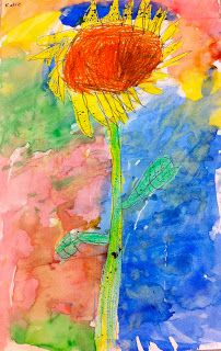 Art: Expression of Imagination: kindergarten art lesson. Have student draw sunflower and encourage them to touch as many sides of the 12x18 paper while drawing their flower. Use watercolor in backgrounnd