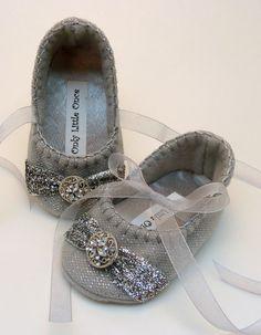 Silver sparkle Christmas shoes. $20.00, via Etsy.