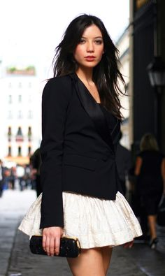 fitted tuxedo blazer with a louis vuitton ballerina skirt...how cute is that?