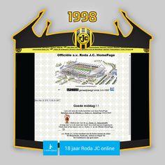 Screen van de eerste officiële website van Roda J.C. Kerkrade - www.rodajc.nl.  In 1997 werden de tekeningen van het nieuw te bouwen Parkstad Limburg Stadion openbaar gemaakt, onder andere via de website. De reacties waren super enthousiast. Alhoewel elke fan en elke sponsor verknocht was aan Kaalheide werd de noodzaak van een nieuw onderkomen door een ieder onderkend.