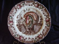 Johnson Bros His Majesty Thanksgiving Charger Dinner Plate & Johnson Brothers HIS MAJESTY Turkey 8 Dinner Plates Old Brown Mark ...