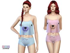 Cute bear print sleep set by zodapop at TSR via Sims 4 Updates
