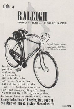1953 Raleigh Bicycle Print Ad I love this bike. I would buy this today! Velo Retro, Retro Bike, Retro Ads, Cycling Motivation, Cycling Quotes, Cycling Art, Raleigh Bicycle, Raleigh Bikes, Vintage Cycles