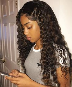 Ghair Lace Front Wigs Front Wig Made By Loose Deep Wave Hair 3 Bundles With Lace Frontal 250 Density Human Hair Wigs Pre Plucked With Baby Hair Remy Human Hair, Human Hair Extensions, Human Hair Wigs, Extensions Shop, Weave Extensions, Remy Hair, Curly Wigs, Curly Bob, Front Hair Styles