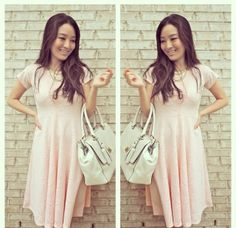Blogger @sensiblestylista in the Mariah dress! #thinkpink #lace #modest