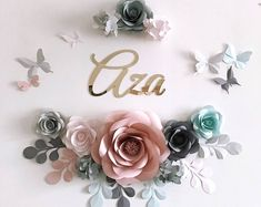 Pastel Paper Flowers for Baby Girl Nursery Wall Decor – Royal Princess Paper Flowers – Paper Flowers over the crib (code: - Ukraine Flowers Delivery Large Paper Flowers, Paper Flower Wall, Paper Flower Backdrop, Flower Wall Decor, Royal Princess, Nursery Wall Decor, Girl Nursery, Royal Paper, Paper Leaves