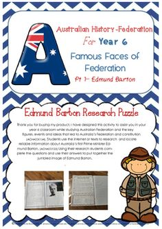 Australian History Federation Famous Faces Part One - Edmu Teaching Schools, Teaching Aids, Teaching History, Teaching Resources, Primary Teaching, Primary History, History Class, Year 6 Classroom, Australia Information
