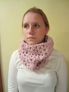 Crochet cowl chunky wool in Light Pink by LarkspurCrochet on Etsy, $25.00