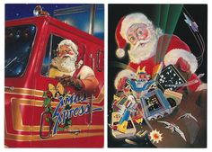 Christmas cards from Paper Moon Graphics ~ Santa Driving  a Big Rig