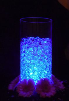 Beautiful Glowing Party Table Decorations - LED Light with Vase Crystals Beautiful luminous party ta Lighted Centerpieces, Party Table Decorations, Decoration Table, Wedding Centerpieces, Water Beads Centerpiece, Bat Mitzvah Centerpieces, Crystal Centerpieces, Denim And Diamonds, Crystals In The Home